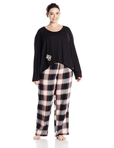 lucky-brand-womens-plus-size-brushed-flannel-pajama-gift-set-plus-black-picnic-plaid-2x