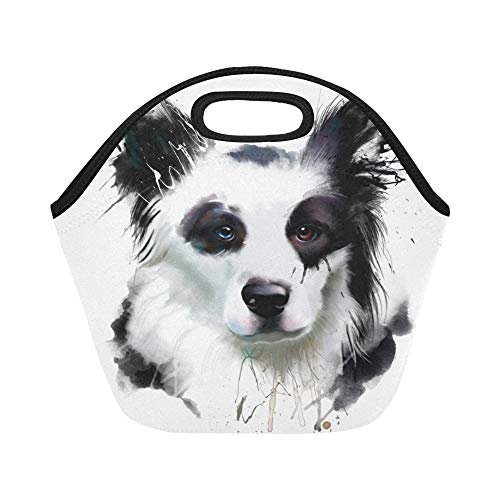 Insulated Neoprene Lunch Bag Dog Portrait Border Collie Closeup Large Size Reusable Thermal Thick Lunch Tote Bags For Lunch Boxes For Outdoors,work, Office, School