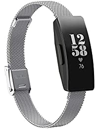 Watch Band for Fitbit Inspire HR Activity Tracker Buckle Magnetic Stainless Steel Strap Mesh Steel Belt by