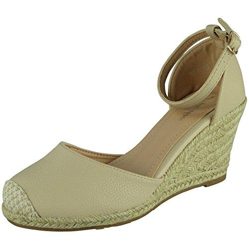Loud Look Womens Ladies Ankle Strap Espadrilles Platform Shoes Mid Heel Wedge Sandals Size 3-8 Beige sNYQb1hPR