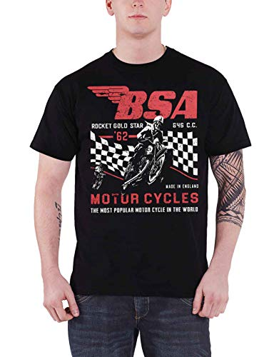 Official T Shirt BSA British Motorbike Rocket Gold Star Official Mens Black Size XL ()