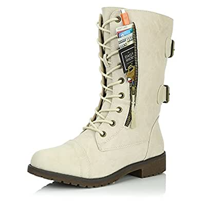 DailyShoes Women's Military Lace up Buckle Combat Boots Mid Knee High Exclusive Credit Card Pocket, Ivory White, 5 B(M)