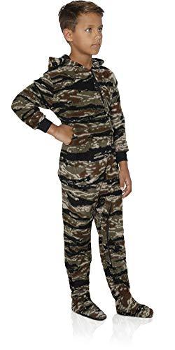 FUN FOOTIES Camo Boys Footed Pajama Sleeper Onesie, Tiger Camo Hooded, Size ()