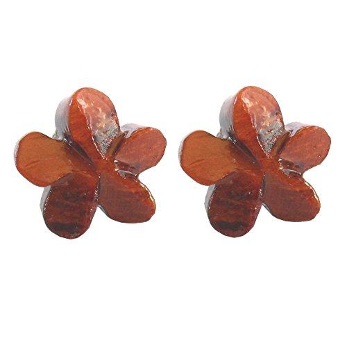 Hawaiian Jewelry Plumeria Flower Koa Wood Pierce Stud (Hawaii Plumeria Earrings)