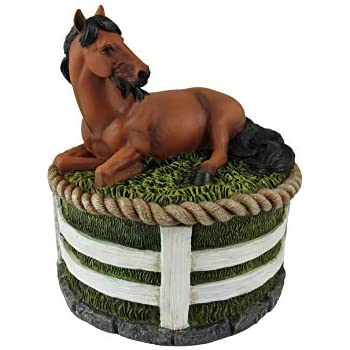 Faux Wood Resin Wildlife Stallion Horse Galloping Rounded Jewelry Trinket Box