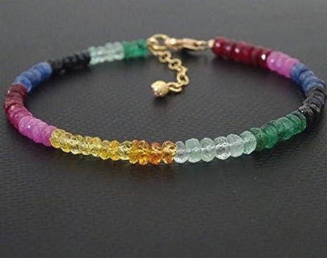 Pulsera de zafiro, rubí y esmeralda, colección de piedras preciosas en oro de 14 quilates con zafiros azules auténticos, rubí y esmeraldas de 3 – 4 mm