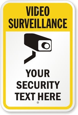 Video Surveillance – Your Security Text Here [with Graphic] Aluminum Sign, 10″ x 7″, Best Gadgets
