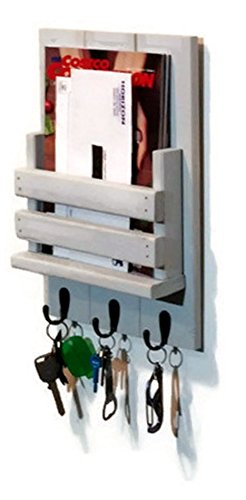 Sydney Slat Front Mail Holder Organizer and Key Holder, Available with up to 3 key hooks and available in 20 different stain colors: Shown in Light French Gray - Mail Organizer