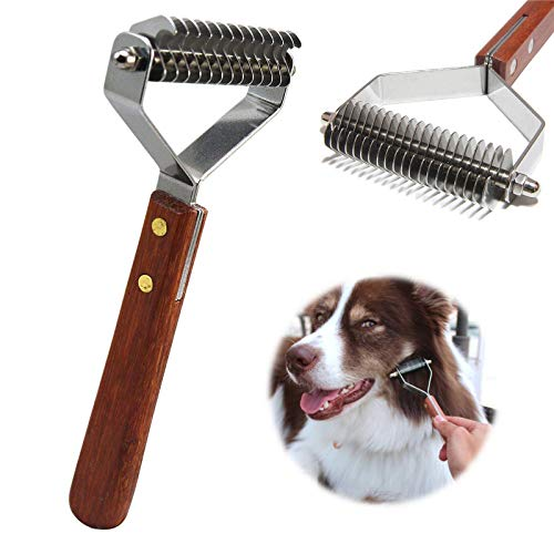 AIDIYA Coat King Rake 14-Blade Rake Pet Undercoat Rake,Professional Pet Dematting Comb Grooming Stripping Tool for Dogs…
