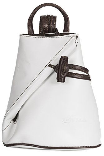 LiaTalia Convertible Strap Italian Leather Backpack Shoulder Bag with Protective Storage Bag - Brady (Large - White BrownT) by LiaTalia