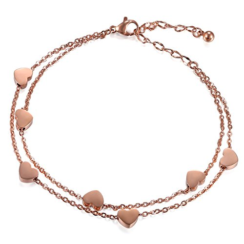 (Cupimatch Women Stainless Steel Heart Love Charm Bracelet, Adjustable Wrist Link Chain (Rosegold))