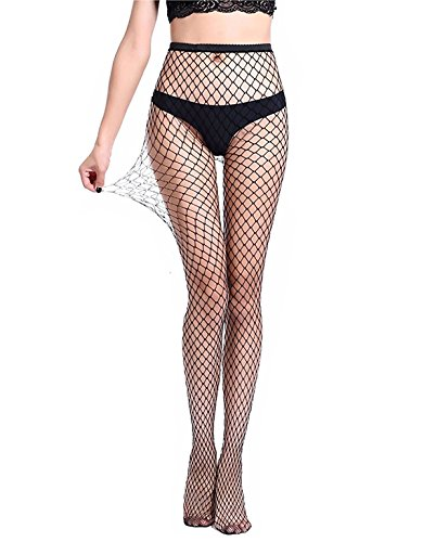 Women's Black Fishnet Stockings Pantyhose Sexy Mesh Hollow Out Fishnet Tights Hosiery (One Size, Black/Medium Hole) -