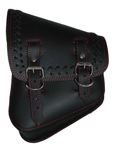 La Rosa Harley-Davidson Softail & Rigid Black Leather Cross Lace Saddle Bag with Red Stitching