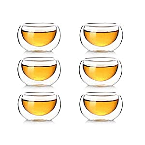 Yeme Double-walled Chinese Glass Tea Cups 50ML/1.69oz S01 (Set of 6)