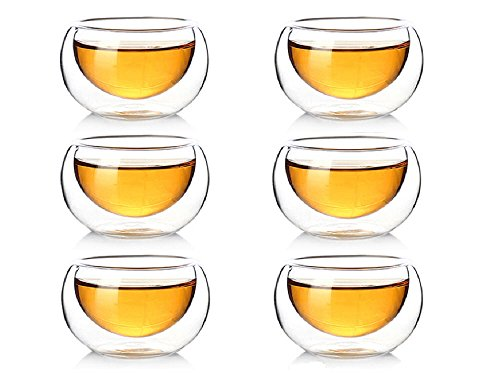 Yeme Double-walled Chinese Glass Tea Cups 50ML/1.69oz S01 (Set of 6) (Sets Wholesale Tea)