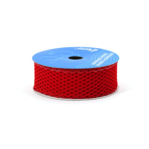Berwick 1-1/2-Inch Wide by 10-Yard Spool Wired Edge Fishnet Craft Ribbon, Scarlet