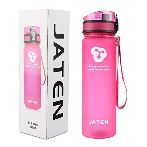 JATEN  1-Click Open Leak Proof Flip Top Lid Sports Water Bottle, Pink (28 - Glases Usa
