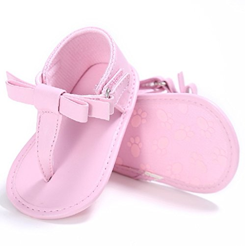Bebé Prewalker Zapatos Auxma Sandalias del verano del arco de las muchachas del bebé Suela suave antideslizante cuna zapatos Para 3-18 Mes Rosado