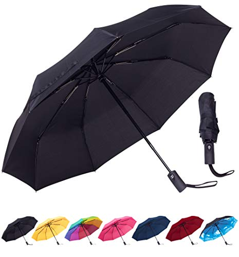 Rain-Mate Compact Travel Umbrella - Windproof, Reinforced Canopy, Ergonomic Handle, Auto Open/Close Multiple Colors by Rain-Mate