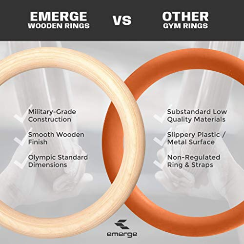 """Emerge Olympic Wooden Gymnastic Rings - Smooth Wooden Finish Rings for Superior Grip with 1.5"""" Adjustable Military-Grade Straps - for Home or Gym Exercise, Crossfit Training and Full-Body Workout"""
