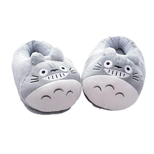 Indoor Soft Plush Totoro Slippers Warm Indoor Footwear Autumn Winter Shoes (Color: Grey)