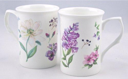 Rose Fine Bone China - Pair Fine Bone China Mugs - English Meadow By Royal Castle