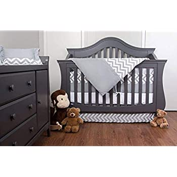 Image of 7 Piece Crib Nursery Bedding Set with Bumper by Simon's Baby House – 100% Cotton – Gray and White Chevron Zigzag Design for Boys & Girls – 52' x 28' – Fits Regular Size Cribs Home and Kitchen