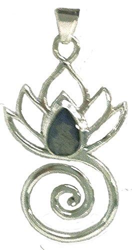 Lotus Flower Swirl Pendant Stone Sterling Silver LABRADORITE