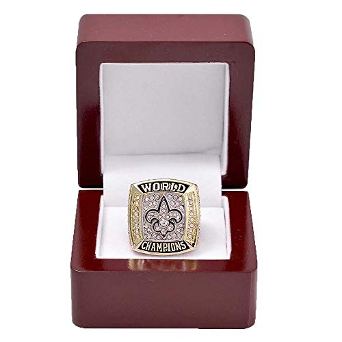 - Gloral HIF 2009 New Orleans Saints Championship Ring Super Bowl Ring with Display Wooden Box