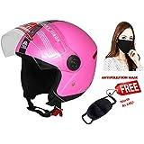 JMD Helmets Modern Grand Open Face Helmet (Pink, M)