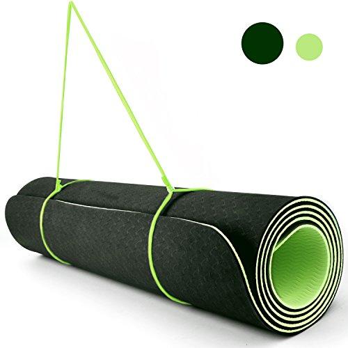 Reehut 1/4-Inch High Density TPE Exercise Yoga Mat for Pilates, Fitness & Workout with Velcro Strap (Dark Green & Green) - Green Velcro Mat