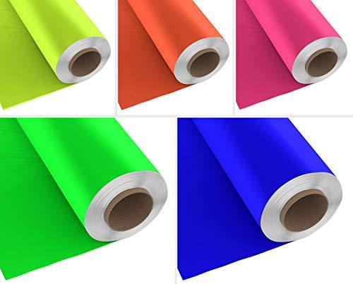 Firefly Craft Neon Heat Transfer Vinyl Bundle | Fluorescent HTV Vinyl Bundle | Bright Iron On Vinyl for Cricut and Silhouette | Pack of 5 Rolls - 12