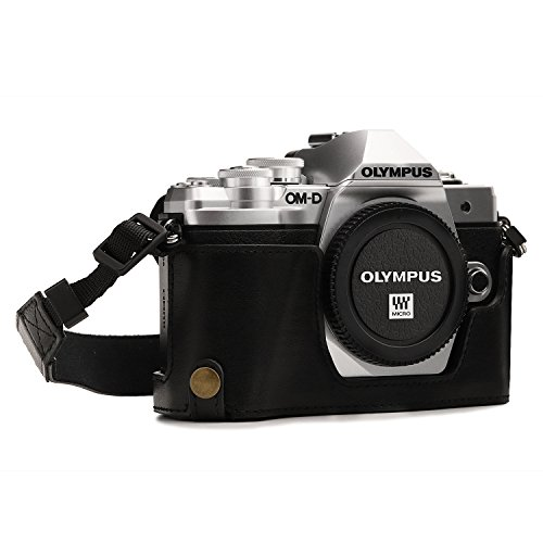 MegaGear Olympus OM-D E-M10 Mark III Ever Ready Leather Camera Half Case and Strap, with Battery Access - Black - MG1350