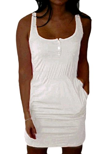 Dress Above Colour Women Tunic Knee Stylish Sleeveless The Slimming Coolred White Pure UA0vwnq