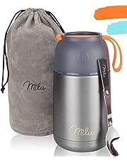 Milu® thermocontainer lunchbox 450, 650 ml | roestvrijstalen isolatiehouder voor warme gerechten, eten, babyvoeding, soep, fruit | thermobox voor baby | thermodoos (Grijs/Oranje, 650ml)