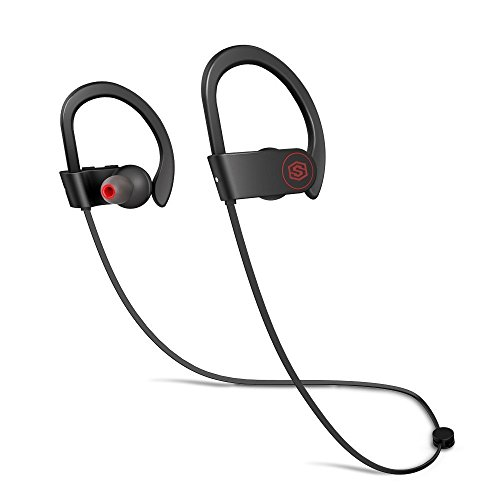 Wireless Headphones SOUL ERA Sport Bluetooth Earphones with Silicone Ear Hooks, Noise Cancelling, Stereo Headset with Mic, Premium Bass Sound, Sweat Proof, 10h Play time for Running Sport (Stereo Hook)