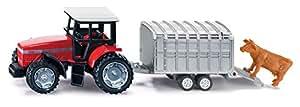 Siku  Deutz Fahr Tractor with Stock Trailer,Vehicle