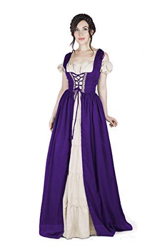 Renaissance Medieval Irish Costume Over Dress & Boho Chemise Set (2XL/3XL, Purple) -