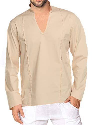 COOFANDY Mens Fashion T Shirt Cotton Tee Hippie Shirts Long Sleeve Beach Shirt Khaki