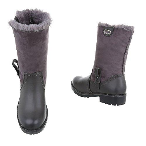 Winterstiefel gefüttert   Dick gefütterte Schneestiefel   Kunst Fell Winter Boots   Langschaft Stiefel   Robuste Winterstiefel   warme Stiefel   Schuhcity24 Grau