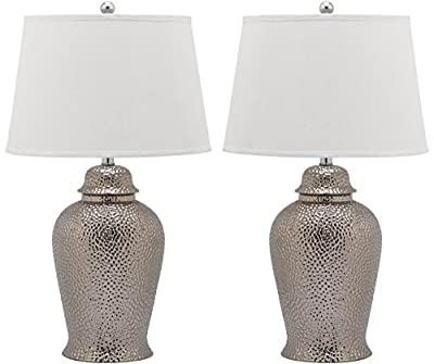 Safavieh Lighting Collection Metallica Ginger Jar Silver 27.75-inch Table Lamp (Set of 2)