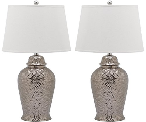 Safavieh Lighting Collection Metallica Ginger Jar Silver 27.75-inch Table Lamp (Set of 2)