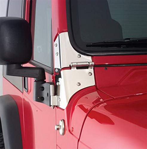 RAMPAGE PRODUCTS 7403 Stainless Steel Windshield Hinges for 1976-1995 Jeep CJ & Wrangler - Pair