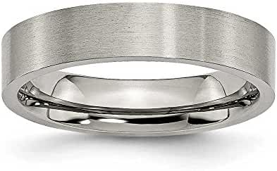 Chisel Flat Brushed Titanium Ring (5.0 mm) - Sizes 5-13