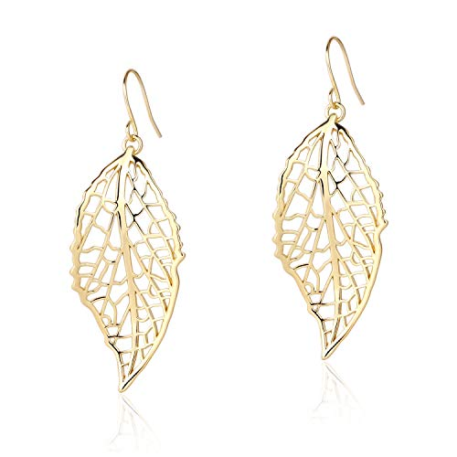 BOUTIQUELOVIN Gold Polished Hollow Filigree Leaf Drop Dangle Hook Earrings for Women Girls