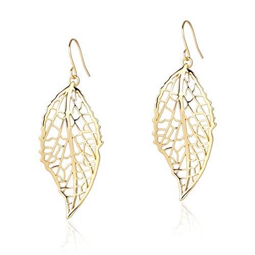 (BOUTIQUELOVIN Gold Polished Hollow Filigree Leaf Drop Dangle Hook Earrings for Women Girls)