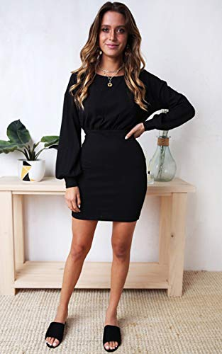 ddd48281ce6e ECOWISH Womens Dresses Casual Long Sleeve Tie Front Crew Neck Bodycon Mini  Dress