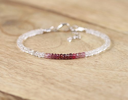 - JP_Beads Berry Red Shaded Spinel & White Sparkle Topaz Bracelet. Sterling Silver, Rose Gold FilledFilled Filled. Dainty Beaded Stacking Bracelet. Gemstone Jewelry 3.5mm