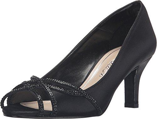 Caparros Eliza Peep-Toe Evening Pumps Black Satin 5.5M ()