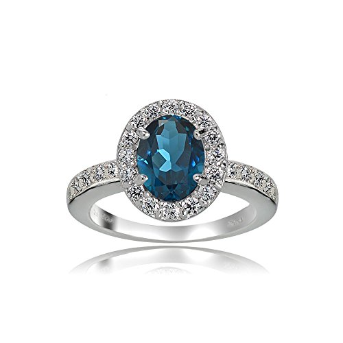 Sterling Silver London Blue and White Topaz Oval Halo Ring, Size 6 (Blue Topaz Ring Size 10)